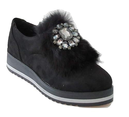 best service c7bd4 96c5d Onyx Scarpe Donna Sneaker camoscio Nero W18-SOX219: Amazon ...