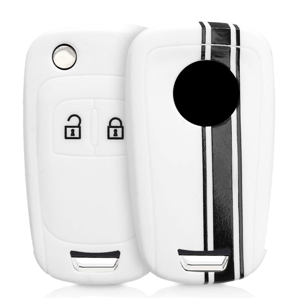 kwmobile Funda para Llave Plegable de 2 Botones para Coche Opel Chevrolet - Carcasa Protectora Suave de Silicona - Case de Mando de Auto con diseño de ...