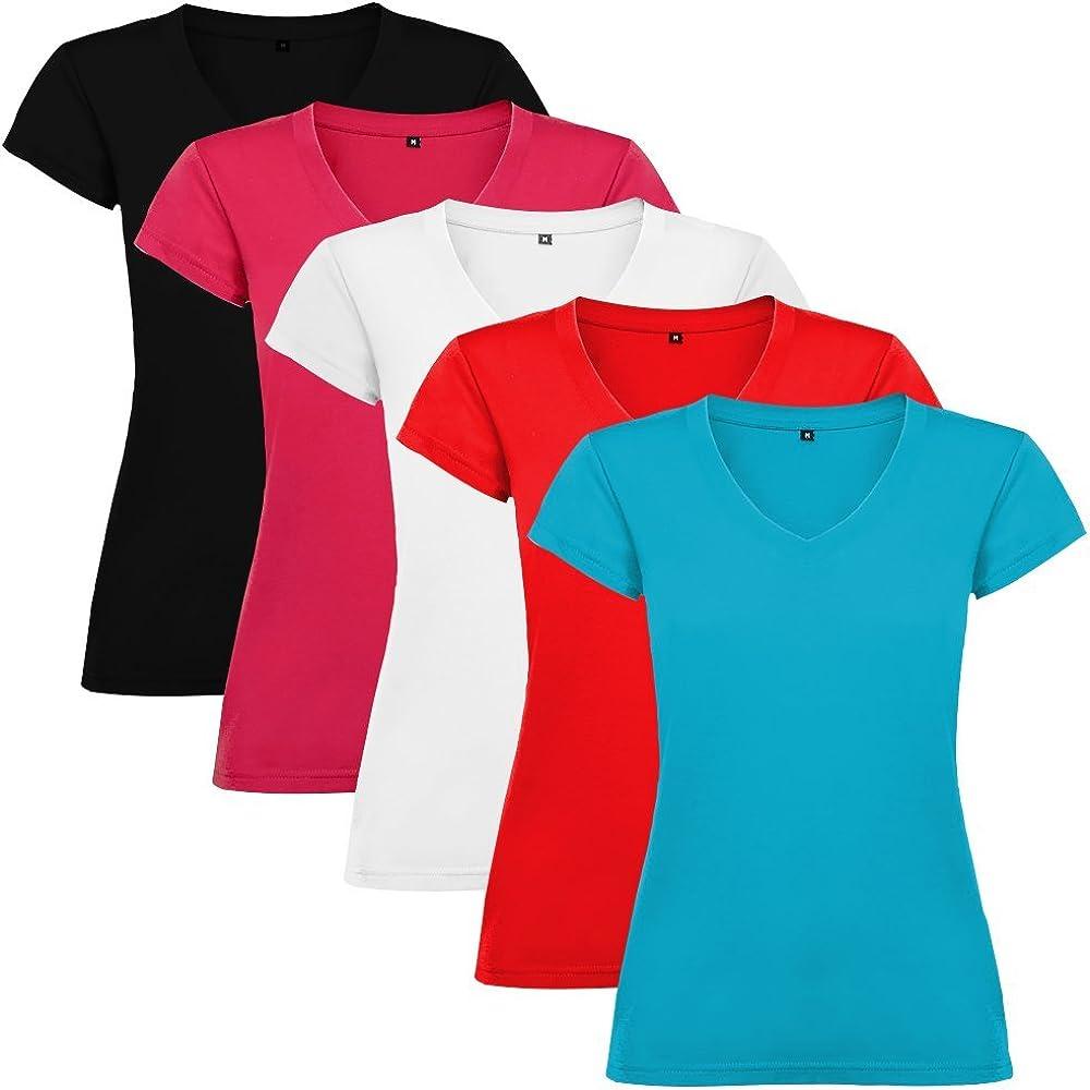 Dalim Pack de 5 Camisetas para Mujer, 100% Algodón, Victoria ...