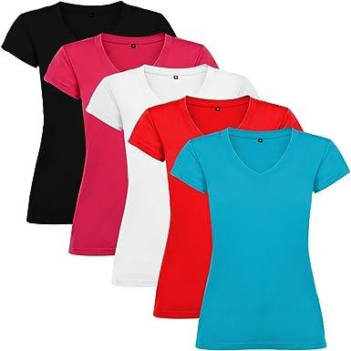 Dalim Pack de 5 Camisetas para Mujer, 100% Algodón, Victoria: Amazon.es: Ropa y accesorios