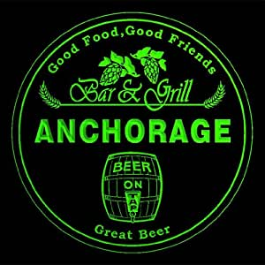 4x ccpr2114-g ANCHORAGE Bar & Grill Beer 3D engraved Drink Coasters