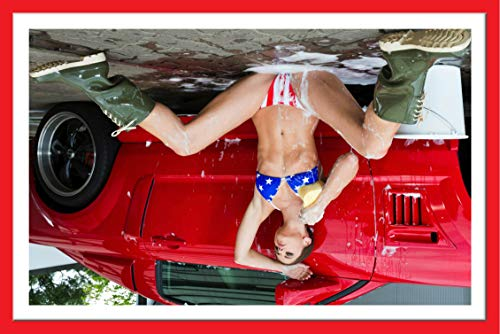 Wall Art Impressions :: Laminated Poster 24quotx36quot :: American Flag Bikini Car Wash Mustang Hot Girls hot Cars soapy Babe Art Print with 3D Frame Effect