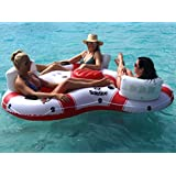 """81"""" Solstice Super Chill Trio 3-Person Inflatable Swimming Pool Float with Cooler"""