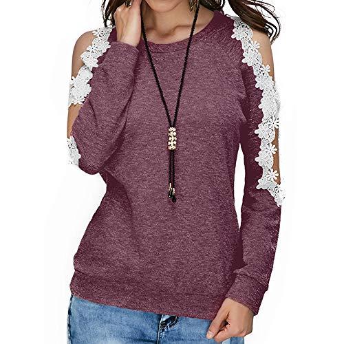 Blouse Femme Manches Tops paule Haut Longues T Vin Hors Casual Shirt Rouge AIMEE7 Dentelle zSq6pgn6d