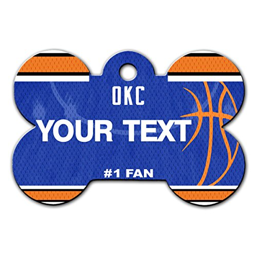 BleuReign(TM) Personalized Custom Name Basketball Oklahoma City License Plate Auto Tag Bone Shaped Metal Pet ID Tag with Contact Information