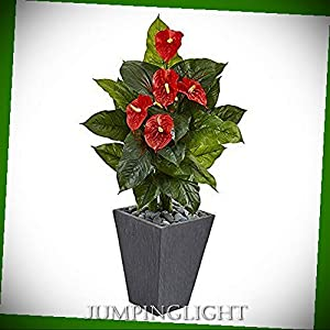 JumpingLight Anthurium Artificial Plant in Slate Planter, 4' Artificial Flowers Wedding Party Centerpieces Arrangements Bouquets Supplies 110
