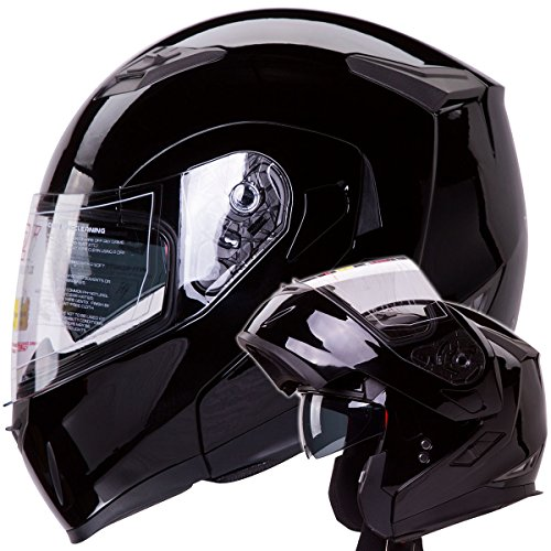 Dual Visor Modular Flip up Gloss Black Motorcycle Snowmobile Helmet DOT (Gloss Black Modular Helmet)