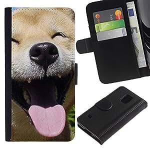 Happy Shiba Inu Dog Canine - la tarjeta de Crédito Slots PU Funda de cuero Monedero caso cubierta de piel Samsung Galaxy S5 V SM-G900