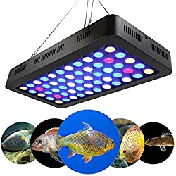 ACLBB 165W LED Aquarium Light, 15-Inch Aquarium Light, Dimmable Full Spectrum Fish Freshwater Coral Culture LED Light, Blue and White LPS/SPS