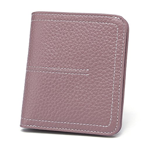 Women's Small Compact Bifold Leather Wallet Credit Card Holder Case Mini Purse with ID Window, Citron Pink by Paraweyse