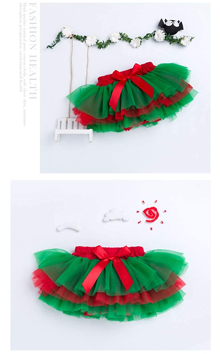 Baby GirlsTutu Skirt 6 Layered Tulle Skorts Newborn Toddler Birthday Photography Outfits 0-24 Month red+Green, L:0-12 Months