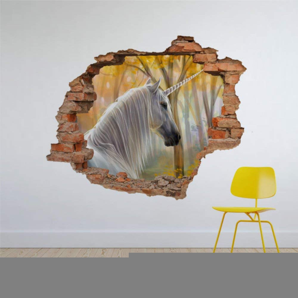 White Unicorn in Forest 3D Hole in The Wall 3D Wall Mural Smashed Wall Creative Removable Poster Wall at Vinyl Decals for Bedroom Living Room Playroom Nursery Office Shop