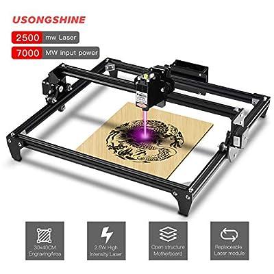 CNC Laser Engraving Machine DIY Laser Engraver Kits Desktop Wood Router/Cutter + Laser Goggles Working Area 30x40cm (Black,2500MW)