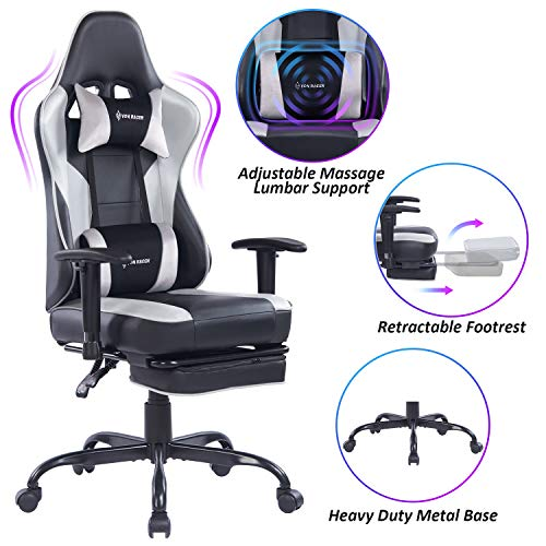 VON RACER Massage Gaming Chair Racing Office Chair - Adjustable Massage Lumbar Cushion, Retractable Footrest and Arms High Back Ergonomic Leather Computer Desk Chair (Gray/Black) VON RACER