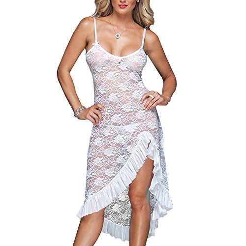 (EVAbaby Sexy Plus Size Maxi Long Lingerie Deep V High Split Asymmetrical Lace Babydoll Chemise Sleepwear Set for Women White s)