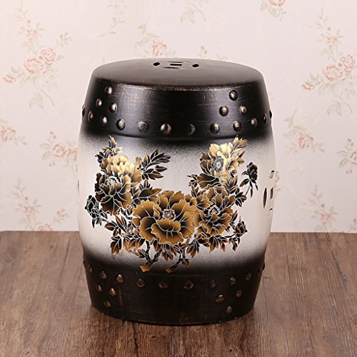 AIDELAI Stool chair New Classical Chinese Style Dressing Stool Changing His Shoes Stool Stool Antique Bird Ceramic Drum Stool Vintage Stool Children Stool (28 36cm) Saddle Seat ( Color : B ) by AIDELAI