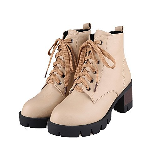 AllhqFashion Damen PU Leder Mittler Absatz Spitz Zehe Stiefel, Aprikosen Farbe, 42