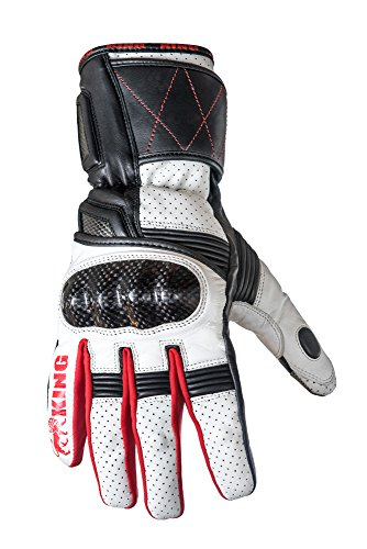 Protect the King Wasp Premium Leather Gauntlet Motorcycle Sport Biker Gloves (Large, White/Red)