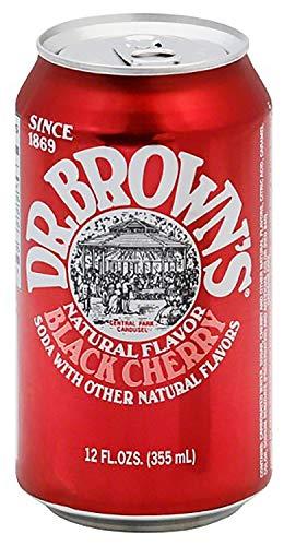 Dr. Brown's Natural Flavor Black Cherry Soda with other Natural Flavors, 12 fl oz Cans (9 - Cherry Browns Black