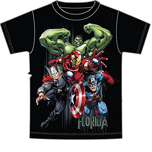 Marvel Avengers Hulk Thor Iron Man & Captain America Boys T Shirt-Black