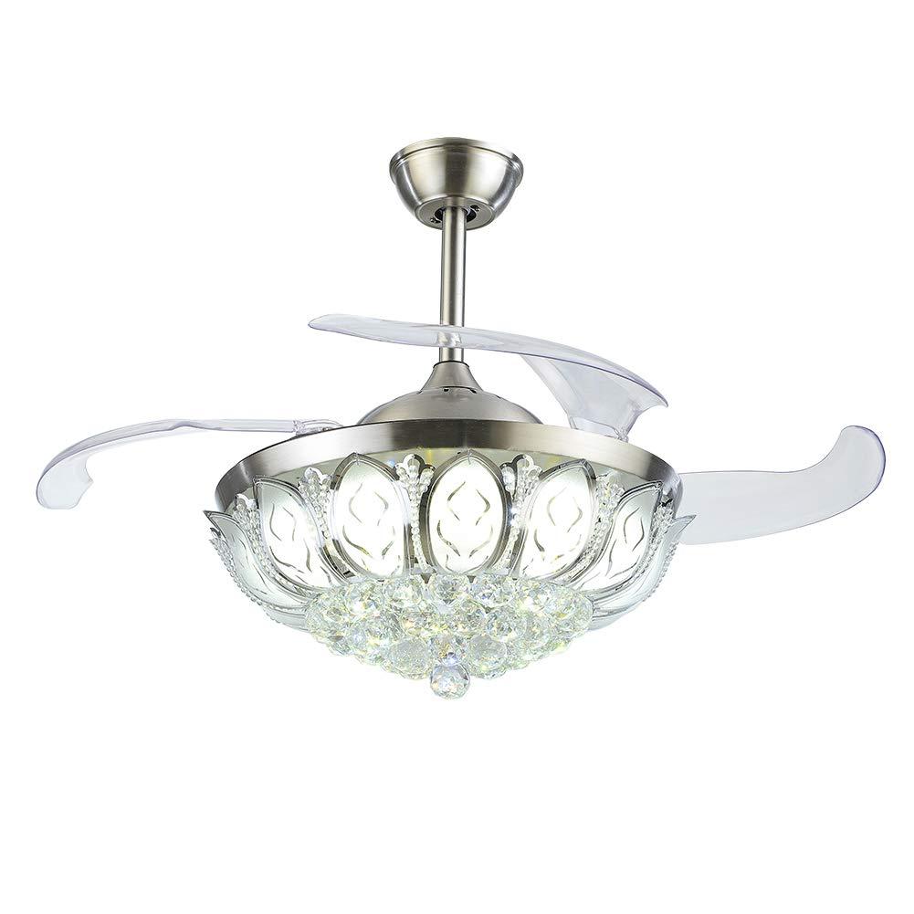 Crystal ceiling fan luxury chandelier retractable blades - Fan with retractable blades ...
