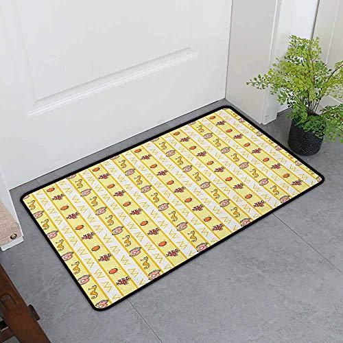 ONECUTE Bedroom Doormat,Pearls Vertical Borders with Aquarium Animals Exotic Seahorse Seashell and Corals Zigzag,Bathroom mat,35