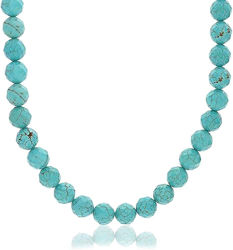 Bling Jewelry Comprimido Azul Turquesa Piedra Gema Redondo 10Mm Abalorios Collar Cuerda Mujer Y Hombre Pulgadas Broche Chapado Plata