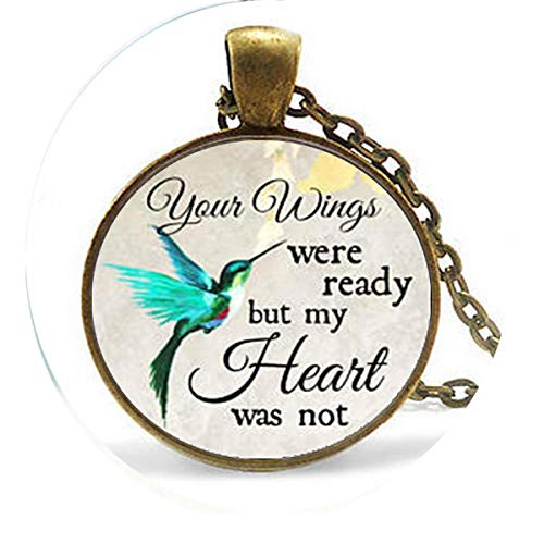 FATS Commemorating The Charm Your Wings are Ready but My Heart is not, Losing Loved Ones in Memory, Sadness or Loss Necklace - Religious -