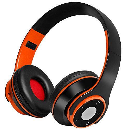Wireless Bluetooth Headphones, Ucio Wireless Headset, Foldable Wired/Wireless Bluetooth Headphones Over Ear with Microphone for PC/Cell Phones/TV(Orang) - Bt Wireless Notebook Mouse
