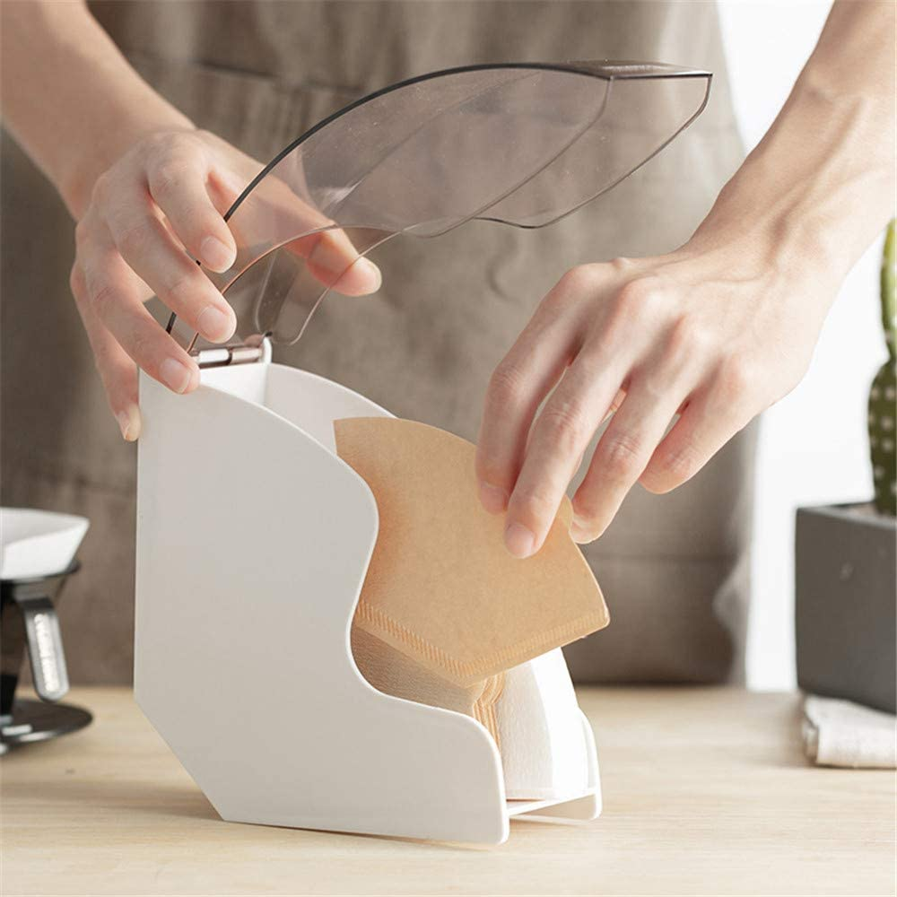 Black DIYARTS Coffee Filter Box Acrylic Filter Paper Holder Coffee Shop V60 Filter Paper Fan Filter Paper Dust Box Suitable for Coffee Shop Home Use