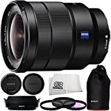 Sony 16-35mm Vario-Tessar T FE F4 ZA OSS E-Mount Lens + 3PC Multi-Coated Filter Kit (UV+CPL+FLD) + Microfiber Cleaning Cloth