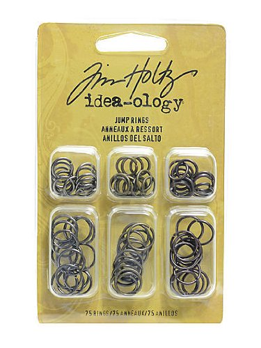 Tim Holtz Idea-ology Fasteners pack of 75 jump rings [PACK OF 4 ] ()
