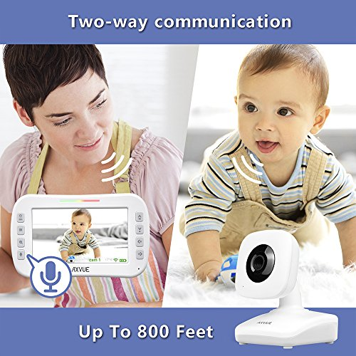 AXVUE E612 Video Baby Monitor with 4.3'' LCD Screen and Two Cameras, Night Vision, 800 ft. Distance and 8H Battery Life, Auto-Scan, Two Way Talk, View Angle Adj. , Power-saving Video ON/OFF by Axvue (Image #6)