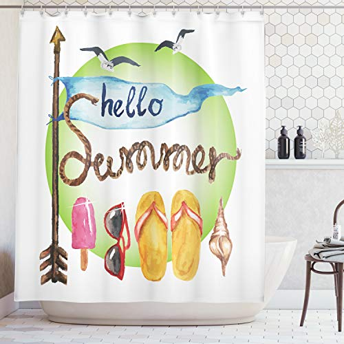 (Ambesonne Summer Decor Collection, Vintage Arrow Flag Shell Rope Flip Flops Sunglasses Sunshine Ice Cream Popsicle Creative Art, Polyester Fabric Bathroom Shower Curtain, 84 Inches Extra Long, Sienna)