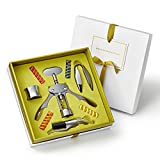 Premium Wine Accessories Gift Set: Wine Opener, Aerator, Foil Cutter, Drip Ring, Wine Glass Charms – Best Anniversary Gifts for Couples, Birthday, Housewarming, Employee Appreciation, Wedding Registry