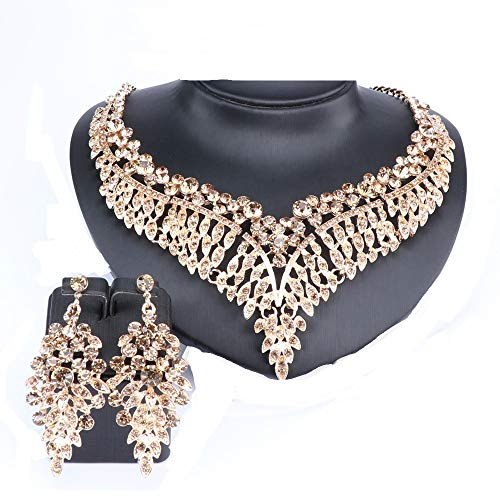 Women Bridal Rhinestone Crystal Statement Necklace Earring Wedding Dress Jewelry Sets ()
