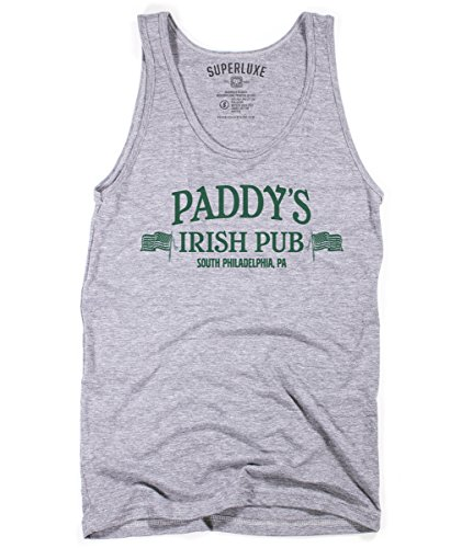 - Superluxe Clothing Mens Unisex Paddys Pub Funny St Patricks Day Philadelphia Bar Crawl Tri-Blend Tank Top, Grey Tri-Blend, X-Small