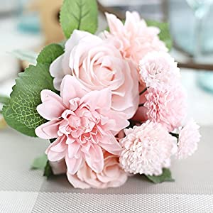 Meiliy 1 Bunch 8 Pcs Artificial Rose Dahlia Daisy Flower Bouquet Bride Bridesmaid Holding Flowers for Home Hotel Office Wedding Party Garden Craft Art Decor, Pink&Champagne 29