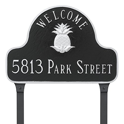 Montague Metal Pineapple Welcome Arch Address Sign Plaque with Lawn Stakes, 11