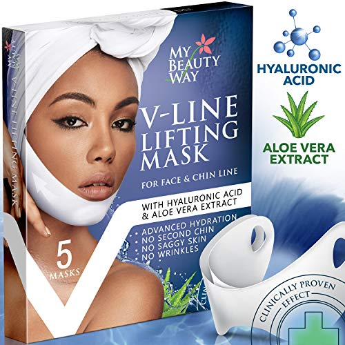 V Line Mask Chin Up Patch Double Chin Reducer Chin Mask V Up Contour Tightening Firming Face Lift Tape Neck Mask V-Line Lifting Patches V Shaped Slimming Face Mask 5 pcs (Best Way To Get Rid Of Neck Fat)