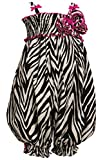 Little Girls 2T-6X Black/White/Pink Zebra Animal-Print Smocked Romper (6, Fuchsia)