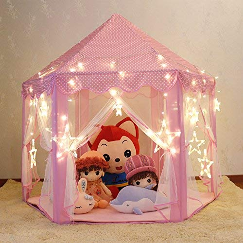 Wilhunter Princess Castle Play Tent Fairy Kids Play Tent with Star Lights Pink Large Playhouse Toys/Gift for Girls Indoor & Outdoor -