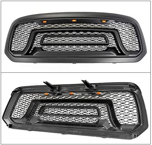 ZMAUTOPARTS Mesh Style Front Upper Hood Grille Grill Matte Black w//Amber Signal Lights For 2013-2018 Ram 1500