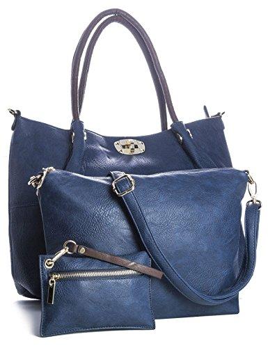 BHBS Bolso 3 en 1 para Dama tipo Tote con Broches Dorados para Hombro 49x32x11 cm (LxaxP) - azul marino