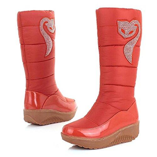 HSXZ Zapatos de mujer de algodón tejido de poliamida Otoño Invierno botas botas de nieve talón PLANO PUNTA REDONDA Rodilla botas altas para Casual marrón naranja negro Orange