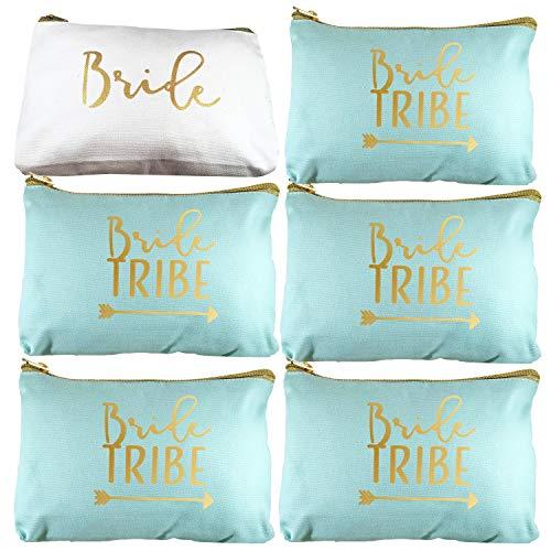 6 Piece Set | Seafoam Green Bride Tribe Canvas Cosmetic Makeup Clutch Gifts Bag for Bridesmaid Proposal Box & Bridesmaids Bachelorette Party Favors