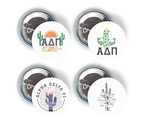 Alpha Delta Pi Sorority Cactus Desert Variety Pack of Buttons Pin Back Badge 2.25-inch ADPi