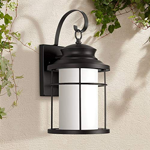 "Warburton Outdoor Wall Light Fixture LED Black Steel 16"" Frosted Glass Cylinder Lantern for Exterior House Porch Patio - John Timberland"