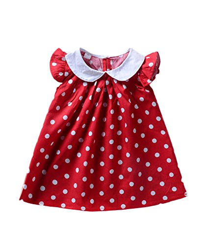 Babywow Infant Baby Girls Polka Dot Printed Ruffled Sleeves Frock Dress Toddler Summer Sundress Red