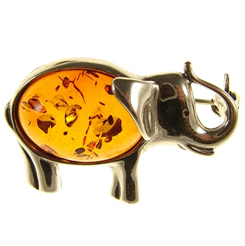 BALTIC AMBER AND STERLING SILVER 925 DESIGNER COGNAC ELEPHANT BROOCH PIN JEWELLERY ()